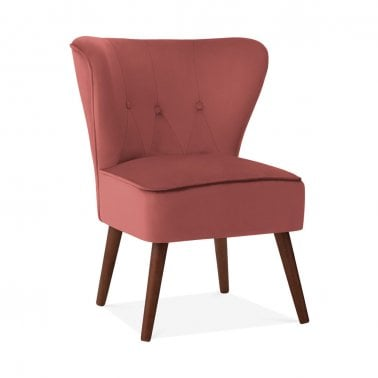 Penelope Accent Chair, Velvet Upholstered, Coral