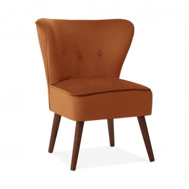 Penelope Accent Chair, Velvet Upholstered, Burnt Orange
