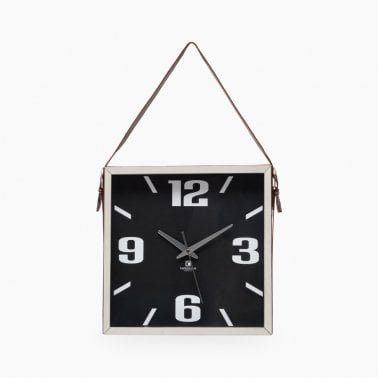 Kingston Wall Clock, Adjustable Hanging Strap, Chrome and Black