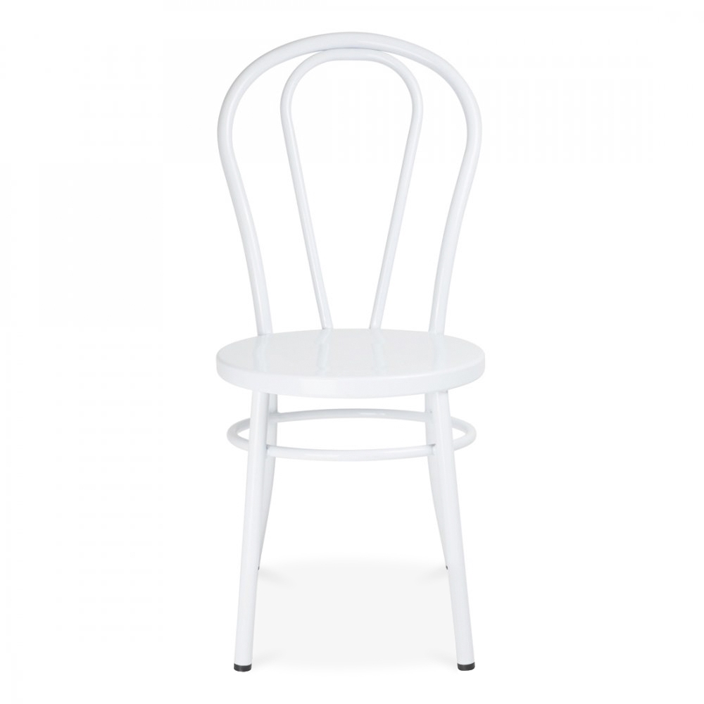 White Thonet Style Retro Bentwood Steel Chair | Cult UK